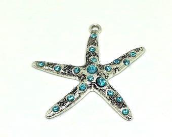 Starfish blue rhinestone pendant - blue starfish - large pendant