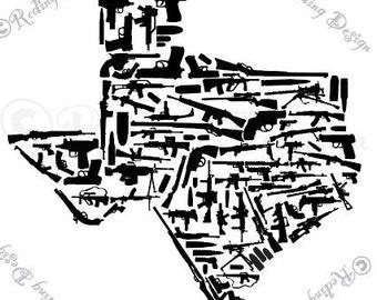 Guns in the Shape of Texas Digital Cut Files