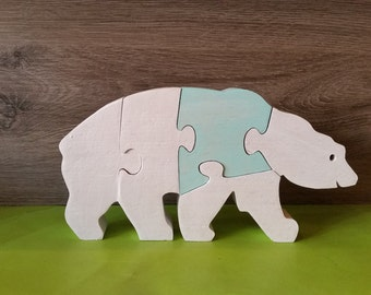 White puzzle wooden bear toy
