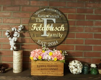 Family name wood circle, personlized wood sign, established sign, personlized family sign