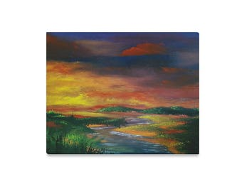 Oil Painting Canvas Print 20''x16'' &3 more sizes -Fire in the Sky- Summer Landscape FREE Shipping