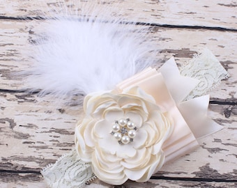 White feather headband