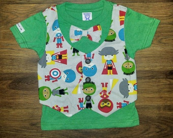 Super Hero Vest and Bow Tie Green T shirt