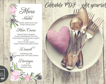 Editable Floral Watercolor Wedding Menu Template, Floral Wedding Menu Card, Wedding Menu Printable, Editable PDF, Personalize at home
