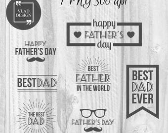 7 PNG Father's Day badges Father's Day labels Instant download DIY Best dad badges Father's Day Phrases Happy father's day stickers