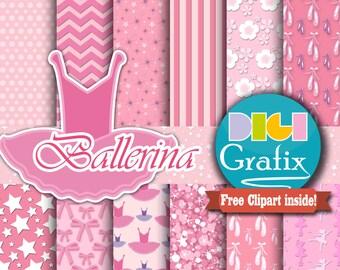 Ballerina Digital Paper - Ballet Clipart, Digital Paper, Dance Printable Paper, Ballerina Birthday Party, Girl Pink Printables, Commercial