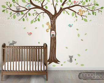 Autumn Tree Giant size wall decal with owl, birds, cat, squirrel removable wall wall sticker for nursery bedroom playroom