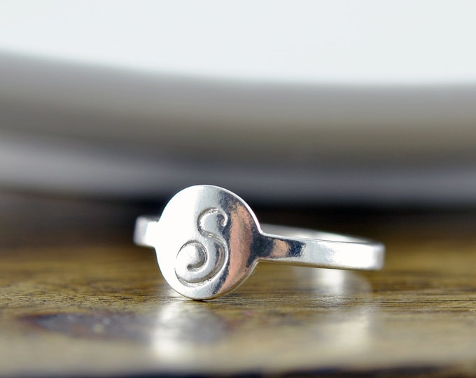 sterling silver initial ring, initial ring, initial jewelry, stacking rings, gift for her, rings for women