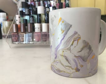 Purple and Yellow Marbled Mug