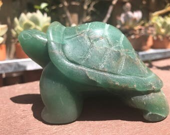 Large Handcarved Aventurine Turtle