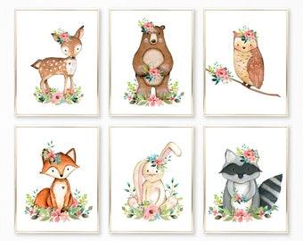 PRINTED Woodland Nursery Art. Teal Nursery Prints. Teal Pink Coral Nursery Art. Floral Woodland Nursery Art. Girl Nursery Art Print Set of 6