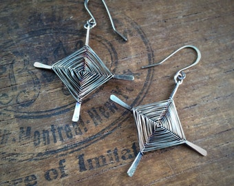 God's Eye Earrings in Sterling Silver, Ojo de Dios Earrings