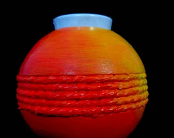 Hand-painted wooden yellow orange red round candle holder - upcycled