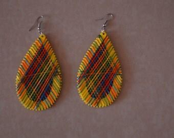 African dangle Earrings // Kenyan Made//Yellow