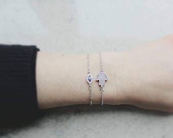 925 Sterling Silver Hamsa Evil Eye Bracelet Crystals