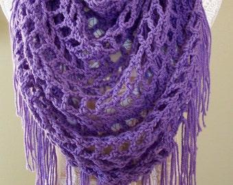 Boho Shawl Crocheted / Boho Triangle Scarf / Fringe Scarf / Triangle Scarf / Triangle Shawl / Lightweight Purple Scarf / Fringed Shawl