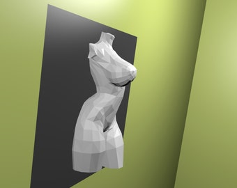 Nude female sculprure for a wall decoration 3-D printable or for papercraft to build your own