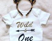 Baby boys girls 1st birthday WILD  ONE outfit top tshirt bodysuit vest first cakesmash leopard print