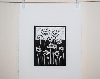 Poppies, Lino Cut Original Relief Print