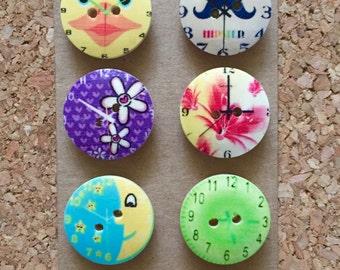 Wooden Clock Thumb Tacks/Push Pins for Office Cork Board - FREE SHIPPING!