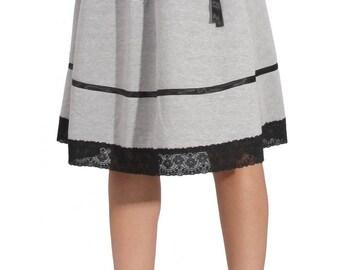 Knee length skirt, Grey skirt, Casual skirt, Maxi skirt, Skirt with lace, Woman skirt, Women skirt, Grey skirt plus size, Fashion skirt