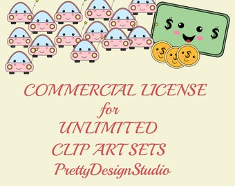 Commercial License NO Credit required ,applies to all of my products, Unlimited clip art sets