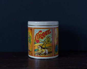 Vintage Cirque Tin | antique, storage container, circus acts