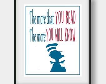 The More You Read, Nursery Wall Art, Kids Wall Art, Nursery Decor, Nursery Art , Baby Room Decor, Nursery Prints, Baby Decor, Printable Art