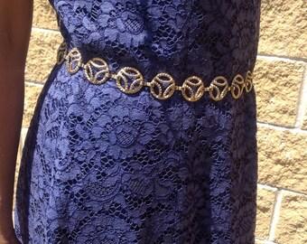 Blue lace Vintage dress tailoring. Blue lace dress. Vintage dress made in Italy. Tailored Suit