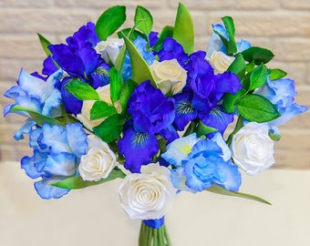 Irises bouquet Bridal bouquet Clay Wedding bouquet Hand Alternative bouquet Clay bouquet Wedding flowers