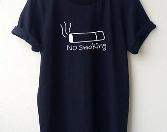 No Smoking T-Shirt Cartoon Unisex shirt Minimal Style Size S M L Tumblr Pinterest