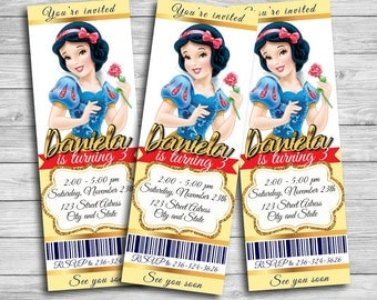 Snow White Invitation, Princess Snow White, Snow White Birthday Invitation, Snow White Birthday Party, Snow White Thank You Card | MSN_5