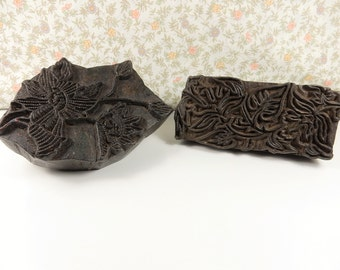 Large Wooden Printing Blocks, Floral Stamps, Fabric Printing Stamp, Floral Handcarved Block Printing Tool