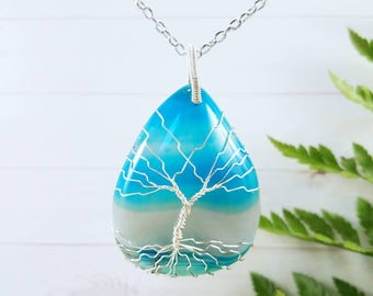 Tree Of Life Necklace, Family Tree, Silver Wire Wrapped Pendant, Blue Agate Necklace, Boho Jewelry, Mom Gift, Wife Gift, Grandma Gift
