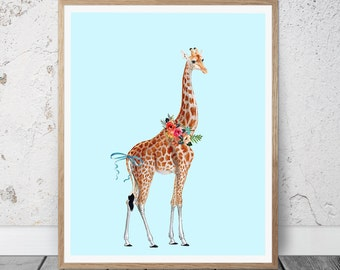 Giraffe Printable Wall Art, Giraffe printable art, Giraffe Home decor, Nursery art, Baby Girl Giraffe Nursery Print, Cute Giraffe Art print