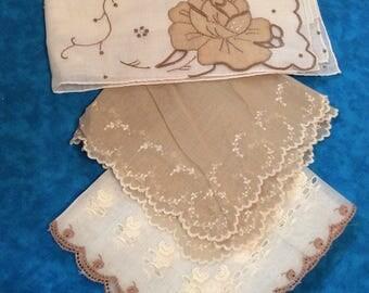 Vintage Handkerchiefs ~ 3- Cotton Hankies ~ Switzerland linens ~ Cotton Handkerchief