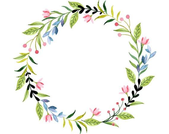 Watercolour flower wreath clip art digital download png - High resolution watercolor flowers ...