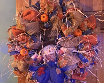 Fall wreath with scarecrow