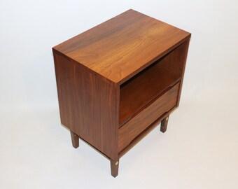 Restored Vintage mid century mdern Stanley Black Walnut Nightstand