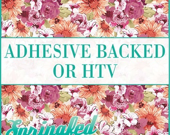 Floral Pattern #1 Adhesive or HTV Heat Transfer Vinyl for Shirts Crafts and More!