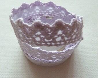 Ribbon adhesive masking tape MAUVE lace crochet