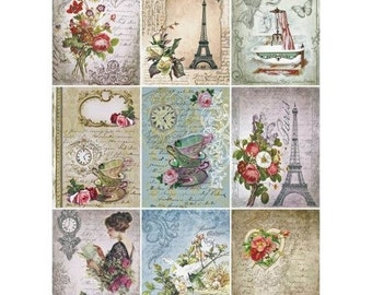 1 sheet of rice paper 21 x 28 cm cutting collage VINTAGE PARIS 534