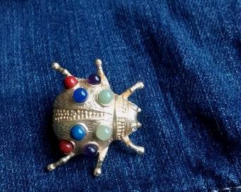 Vintage 1980's Ladybird Beetle brooch with semi-precious stone spots