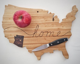 Custom Wood Burned State Pride Cutting Board, USA Wood Wall Art, Foodie Gift, Romantic Gift, Anniversary Gift, Long Distance Relationship