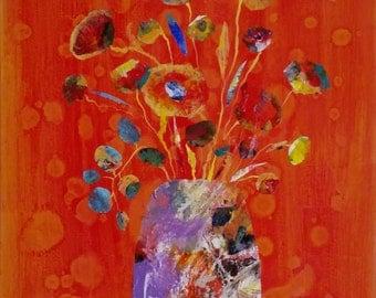 Terracotta Happy - original mixed media painting on canvas