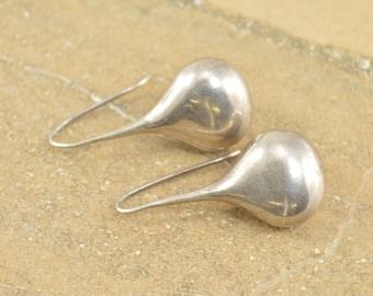 Vintage Style Tear Drop Dangle Hook Earrings Sterling Silver 9.1g