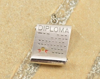 Brushed Finish 3D Diploma Graduation Charm / Pendant Sterling Silver 3.2g