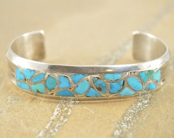 Chip Inlay Grooved Mosaic Cuff Bracelet Sterling Silver 34.7g