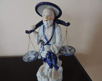 Taiwan, fisherman, blue and white figurine, collection
