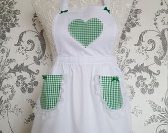 Children's green gingham apron